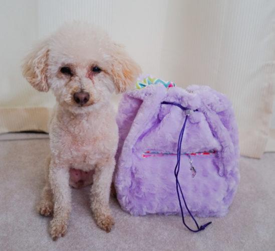 Faux fur drawstring bag for Auntie K