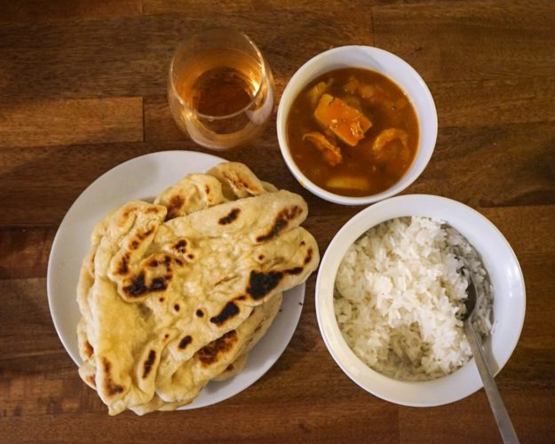 Naan and Seafood Coconut Curry